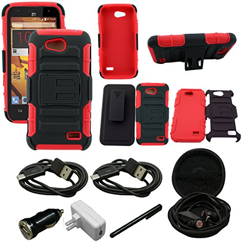 Mstechcorp - ZTE Overture 2 / ZTE Fanfare / ZTE Speed (Cricket/Boost Mobile) - Kickstand Belt Clip Holster Case, Defender Kickstand Case and Belt Clip Holster - Includes [Car Charger] + [Wall Charger] + [Touch Screen Stylus] + [Hands Free Earphone With Carrying Case] + [2 Data Cables] (HOLSTER RED)