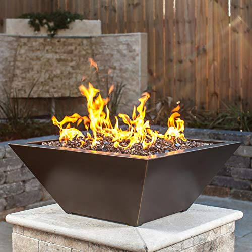 Lakeview Outdoor Designs Westfalen 18-Inch Square High-Rise Natural Gas Column Fire Bowl – Oil Rubbed Bronze