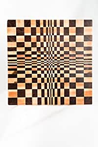 "End Grain Cutting Board – Walnut & Maple Wood-Natural Antibacterial Properties -3D Optical Illusion Butcher Block– 15"" x 15"" and 12"" x 12""-Designed to keep your knives sharp longer. (Elusion)"