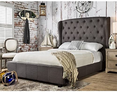 Furniture of America Callista Flax Fabric Bed with Wingback Tufted Headboard Design, Queen, Gray