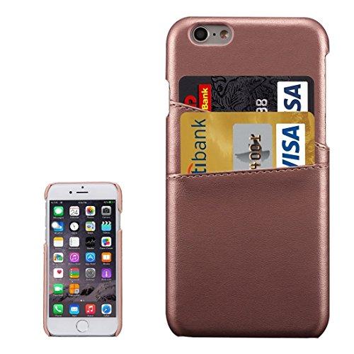 Phone Taschen & Schalen Für iPhone 6s Plus Lammfell Texture Leder Rückseite mit Kartensteckplätzen ( Color : Coffee )