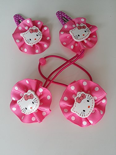 Hello Kitty Hair Pin (Hello Kitty Elastic Hair Bands and Matching Barettes (Hot Pink))