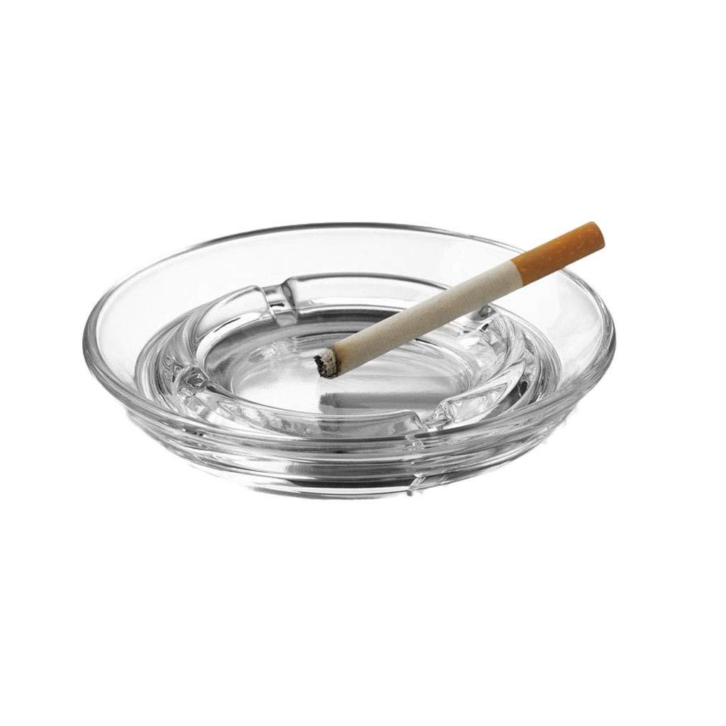 ZDD Lead-Free Glass Ashtray/Creative Personality Home Practical Ashtray/Decorative Ornaments Gift Transparent (ø12.5cm)