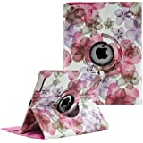 Stylish Lucky Flowers Case With 360 degrees Rotating Swivel Stand-Pink
