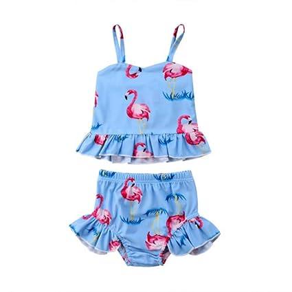 BUATEL Baby Girl Estampado De Flamenco Bikini Conjunto Traje ...