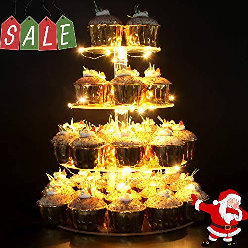 Vdomus Pastry Stand 4 Tier Acrylic Cupcake Display Stand with LED String Lights Dessert Tree Tower for Birthday/Wedding Party (Round Style)