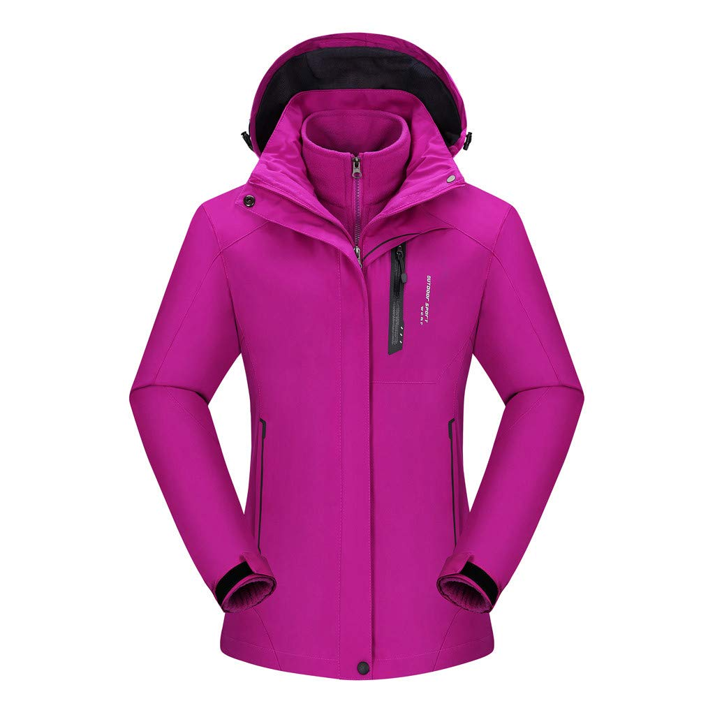 ZOMUSAR Ladies Coat, Women's Fashion Waterproof Hoodie Hat Detachable Breathable Sport Outdoor Coat by ZOMUSAR