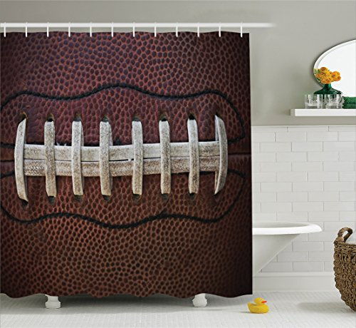 Sports Decor Collection, American Football Theme Polyester Fabric Bathroom Shower Curtain Set with Hooks, Ivory Black Dark Brown