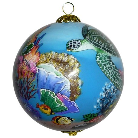 Maui By Design Collectible Hawaiian Christmas Ornament: Corals and Sea Turtles - Handmade Christmas Gift