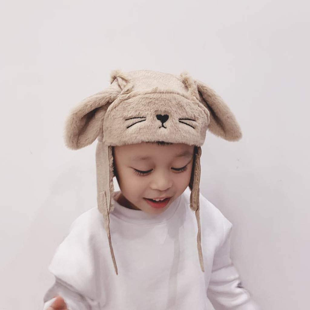 Bonnet de neige pour bébé Bomber avec oreillettes en polaire thermique chaude Marron