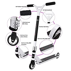 Kaluo Pro Compact Freestyle Stunt Scooter Best Gifts for Teens (White Alloy Wheel Core)