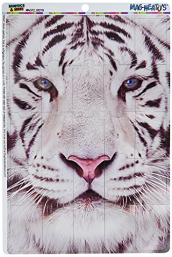 Graphics and More White Tiger with Blue Eyes Mag-Neato's Novelty Gift Locker Refrigerator Vinyl Puzzle Magnet (Tiger Eyes Magnet)