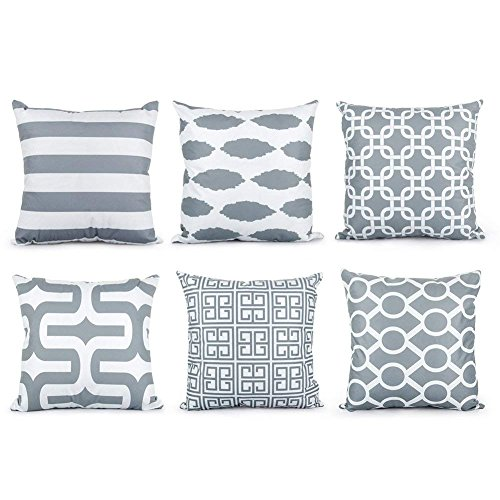 (Top Finel Decorative Cushion Covers Soft Microfiber Outdoor Pillow Covers 16 X 16 for Couch Bedroom Car, Pack of 6, Grey)