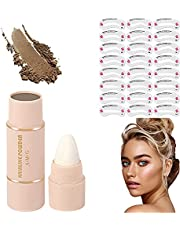 One Step Brow Stamp Shaping Kit, Eyebrow Stamp Waterproof, Brow Stamp Shaping Kit Eyebrow Definer, with 24 Reusable Eyebrow Stencils (Medium Brown)
