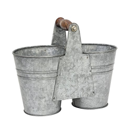 Stonebriar Small Antique Galvanized Metal Double Bucket with Wooden Handle, Country Rustic Farmhouse Home Decor Accents, Use as Floral Centerpiece, Mantel Decoration, or Table Top Accessory from Stonebriar