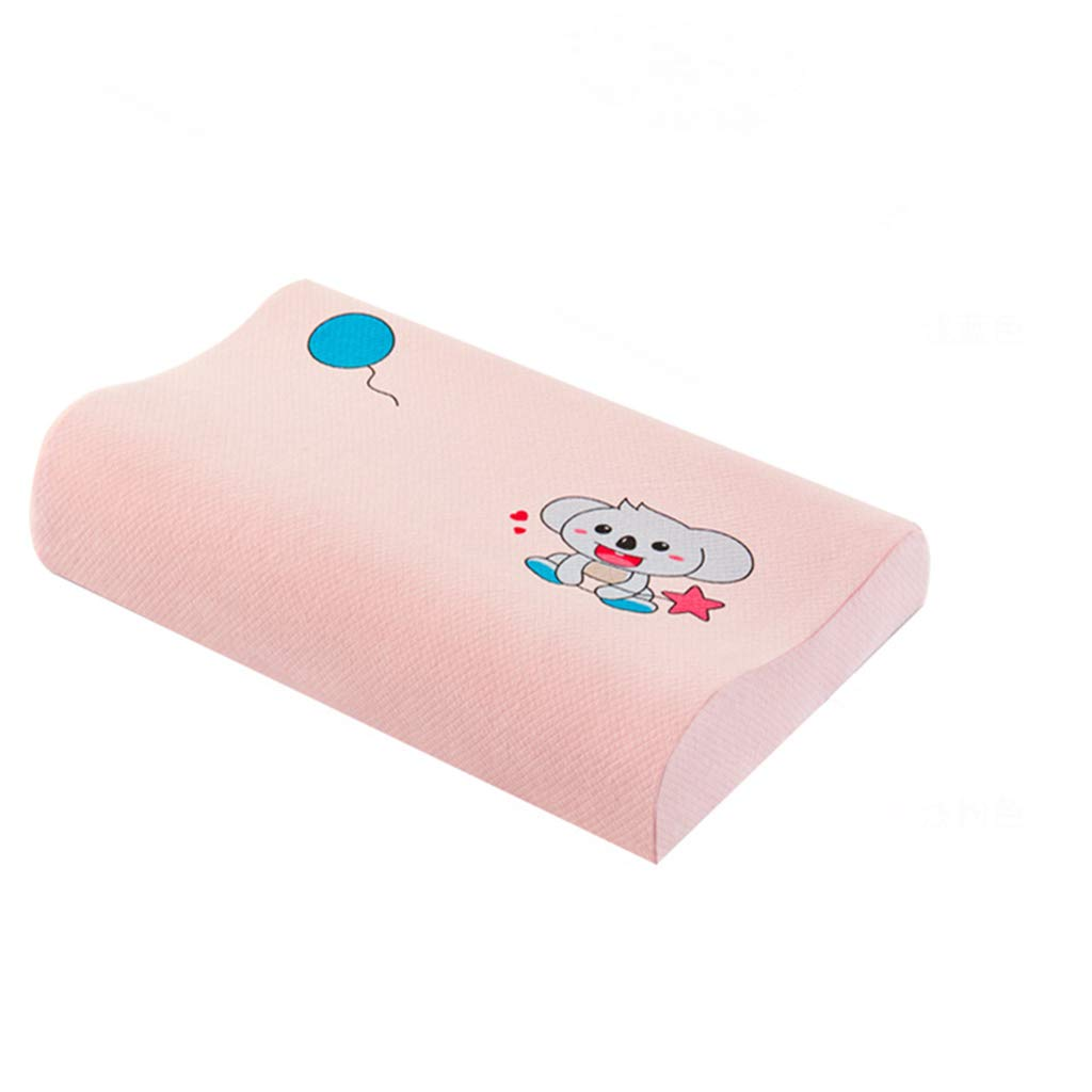 TFT Natural Latex Pillow for Home Children's Massage Cervical Vertebra Relieve Neck Sore Numbness Improve Sleep Quality Antibacterial Breathable Memory Pillow (Color : Pink)