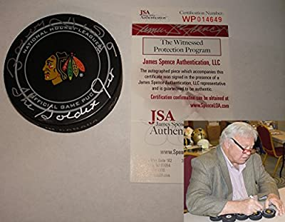 Bobby Hull The Golden Jet Signed / Autographed Chicago Blackhawks Game Model Hockey Puck - JSA
