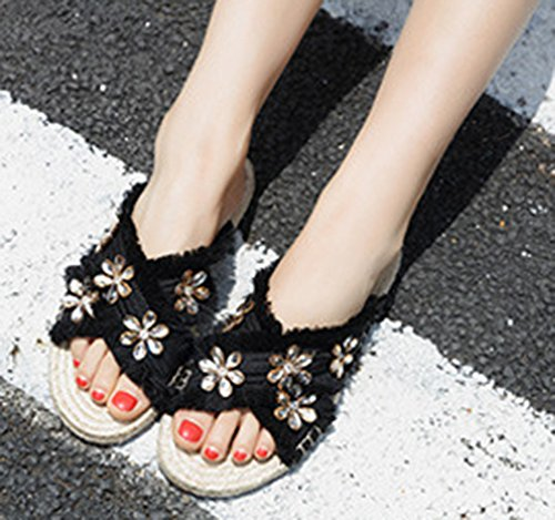 Plates Chaussures Noir Mules Femme Fleurs Espadrille Belle Aisun Fille Strass 7Hgnt1nwx