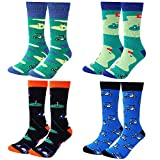 6. Moyel Men's Funny Crew Socks Novelty Cool Fun Cotton Socks (4 Pairs Golf)