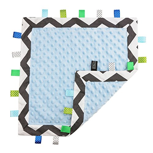 5 Colors - TAGZ Tag Blanket for Infant by CRAZZIE (Grey Zigzag with Blue Dot-Minky)