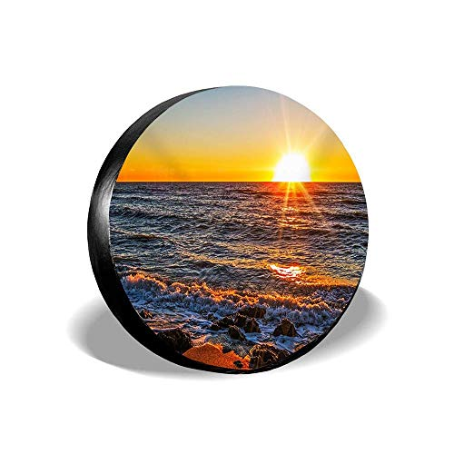 Jackie Prout ss Beach Ocean Sunrise View Natural Landscape Tire Cover Spare Wheel Cover Fit Jeep Camper RV SUV Truck 14 15 16 17 inch