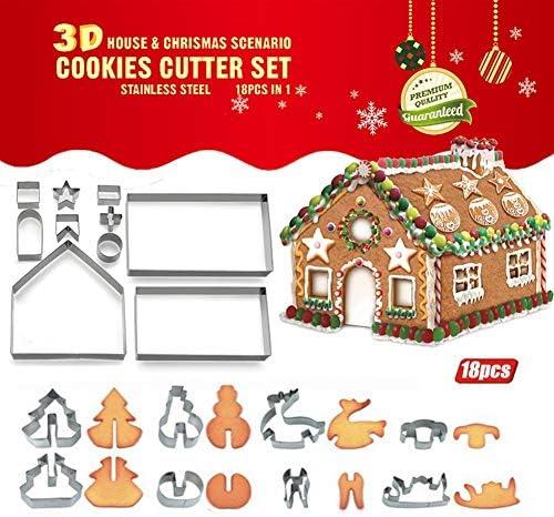 アク 18セットクリスマスクッキー型ステンレス3D立体ジンジャーブレッド ることができるすべ (Size : 18 piece)