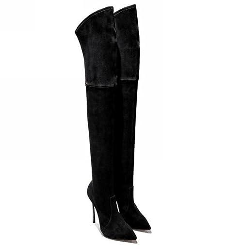 35 Large tacco Size a di alto 43 al ginocchio punta moda stivali r5Xpqnrwf
