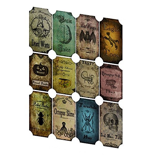 Vintage Inspired Halloween 12 Bottle Label Stickers Scrapbooking Decoration -