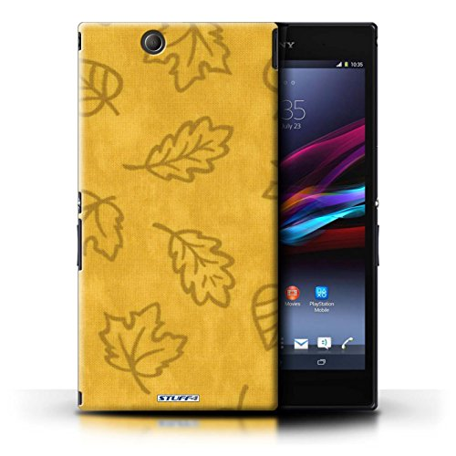 KOBALT® Protective Hard Back Phone Case / Cover for Sony Xperia Z Ultra   Yellow Design   Textile Effect Leaf Pattern Collection