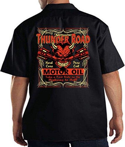 Thunder Road Hot Rod Devil Mechanic Work Shirt, Black, XXX-Large