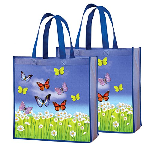 Tote Bags - Reusable Shopping Bag, Heavy Duty, Eco Friendly Butterfly Utility Bag, Set of 2