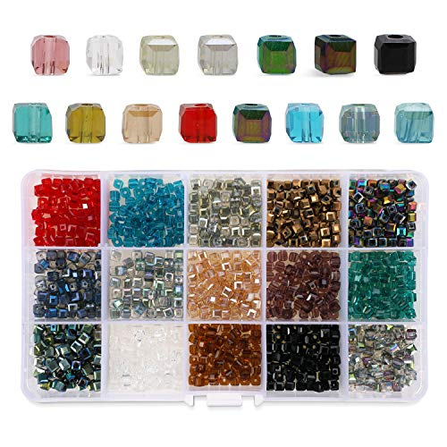 Phogary 1200pcs Cube Glass Beads, Mixed Colors Crystal Square Beads Assorted Kit Multi-Colors Lustered Loose Spacer Beads, 4mm Rondelle Shape for Jewelry Making, DIY Crafting (15 Colors) ()