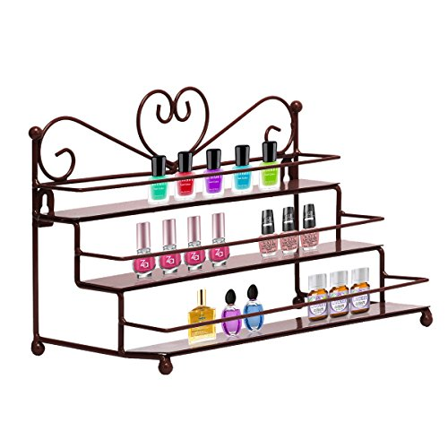 Dazone Mounted 3 Tier Metal Shelf Nail Polish Wall Rack E...