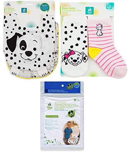 Dalmatian Embroidery (Pink 101 Dogs Bib & Sock Set for Baby 2-Pack Disney Set with Patch Dalmatian characters for Baby Soft Super Cute Matching Collection 2 Best of Friends baby bibs and 2 pairs of socks Penny)