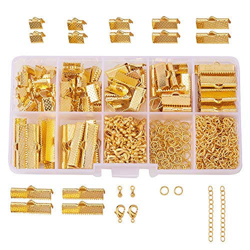 (PandaHall Elite About 500 Pcs Jewelry Finding Kits with Ribbon Clamp End, Jump Ring, Lobster Claw Clasps, Extender Chain, Drop Ends for Jewelry Making)