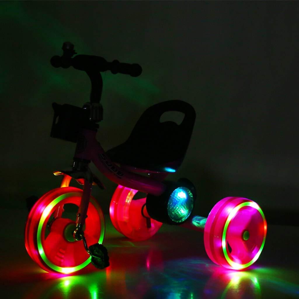 Kinder Kind Dreirad Baby Fahrrad Kind Kinder Reiten Dreirad Baby Musik Buntes Licht Dreirad Fahrrad 1 Jahr und eine halbe bis 6 Jahre alt Kind Fahrrad rot (Farbe   ROT) 335a31