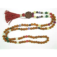 Prayer Meditation Mala Beads Rudraksha Navratan Round Stone Yoga Necklace