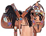 AceRugs Feather Horse Saddle Size 15″ 16″ Western Pleasure Barrel Racing Trail Leather TACK Bridle REINS Breast Collar