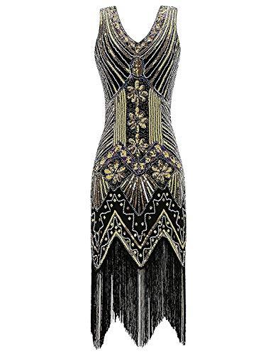Women's Flapper DressVintage 1920s V Neck Beaded Fringed Lace Tassels Hem Flapper Great Gatsby Dress,XXXX-Large,C-Golden]()