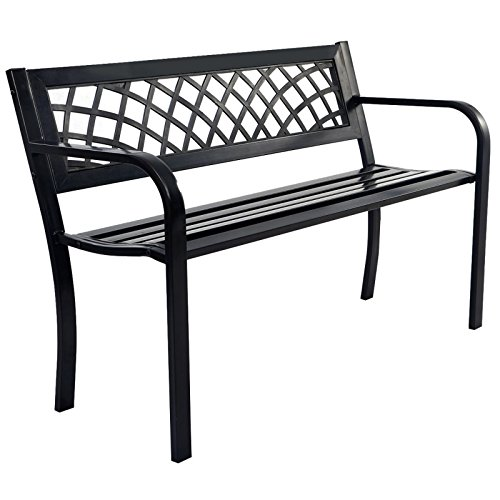 Park Patio Garden Bench Porch Path Outdoor Seat Steel Frame PVC Backrest Mesh New - In Phoenix New Outlets