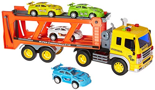 PowerTRC 1:16 Friction Powered Car Transporter Truck with Lights and Sounds