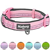 Blueberry Pet Soft & Comfy 3M Reflective Pastel Baby Pink Adjustable Padded Dog Collar, Small, Neck 30cm-40cm, Adjustable Collars for Dogs