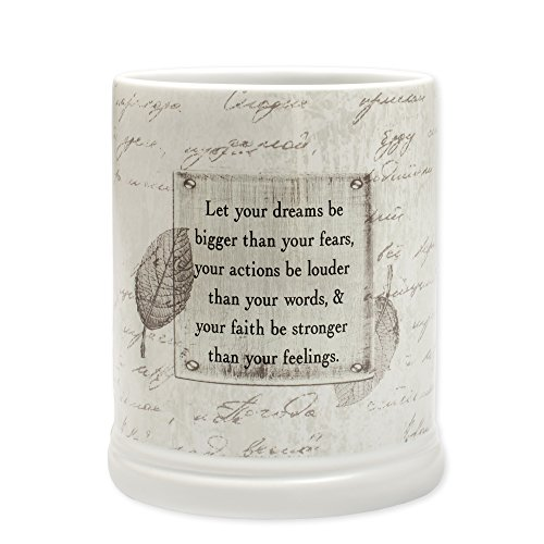 Electric Candle Jar Warmer (Dream Bigger Actions Louder Faith Stronger Grey Leaves White Ceramic Stone Jar Warmer)