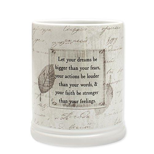 (Dream Bigger Actions Louder Faith Stronger Grey Leaves White Ceramic Stone Jar)