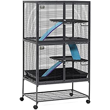 """MidWest Deluxe Critter Nation Double Unit Small Animal Cage (Model 162) Includes 2 leak-Proof Pans, 2 Shelves, 3 Ramps w/ Ramp Covers & 4 locking Wheel Casters, Measures 36""""L x 25""""W x 62.5""""H Inches, Ideal for Dagus, Rats, Ferrets, Sugar Gliders"""