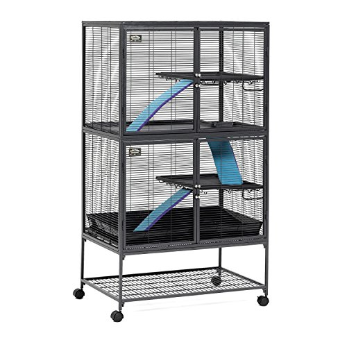 MidWest Deluxe Critter Nation Double Unit Small Animal Cage (Model 162) Includes 2 leak-Proof Pans, 2 Shelves, 3 Ramps w/ Ramp Covers & 4 locking Wheel Casters, Measures 36