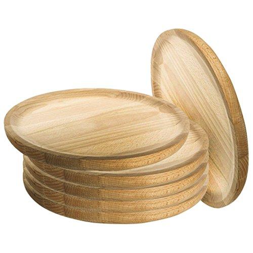 Ruibal - Holzteller Rund - Holzplatte - Kiefer - Set 6 - Ø 20 cm