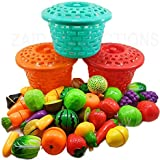 PLAY DESIGN 15 Pcs Realistic Slice Able Fruits and Vegetable Cutting Along with Basket