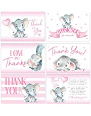 Pink Elephant Baby Shower Thank You Cards, Girl Baby, Mama Baby Shower Favor and Games, 50 Thank You Cards and Envelopes