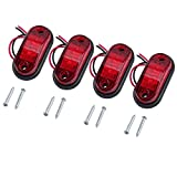 Justech 4pcs Side Marker Lights LED Front Rear Lights Lamps Universal Indicator Position 12V 24V Red Bulbs Truck Trailer Van Caravan Lorry Car Bus